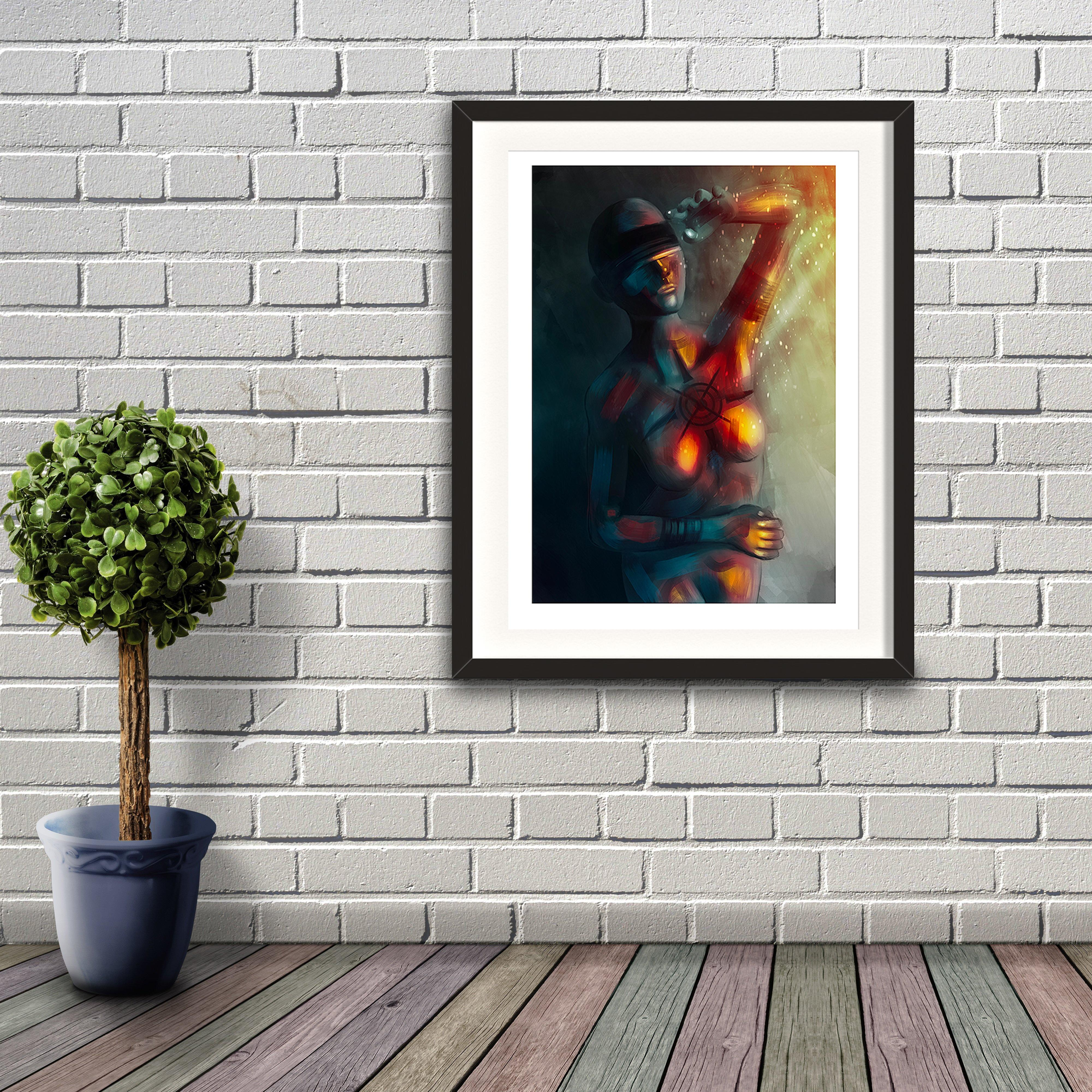 A digital painting by Lily Bourne printed on eco fine art paper titled Enlightened Moment showing an abstract blindfolded woman shielding herself from bright light and warmth. Artwork is shown in a black frame hanging on a brick wall.