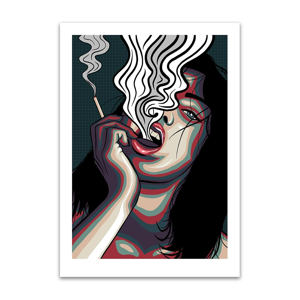 A digital pop art painting by Lily Bourne printed on eco fine art paper titled Release showing showing a female exhale smoke from a cigarette which is holding.