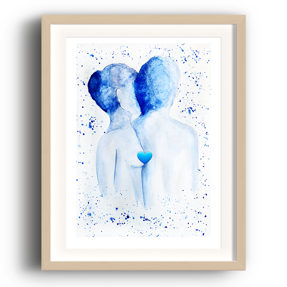A watercolour print by Clarrie-Anne on eco fine art paper titled Just Us. A naked top half of a male and female facing away from the viewer in blue watercolour with splash background. The image is set in a beech coloured picture frame.
