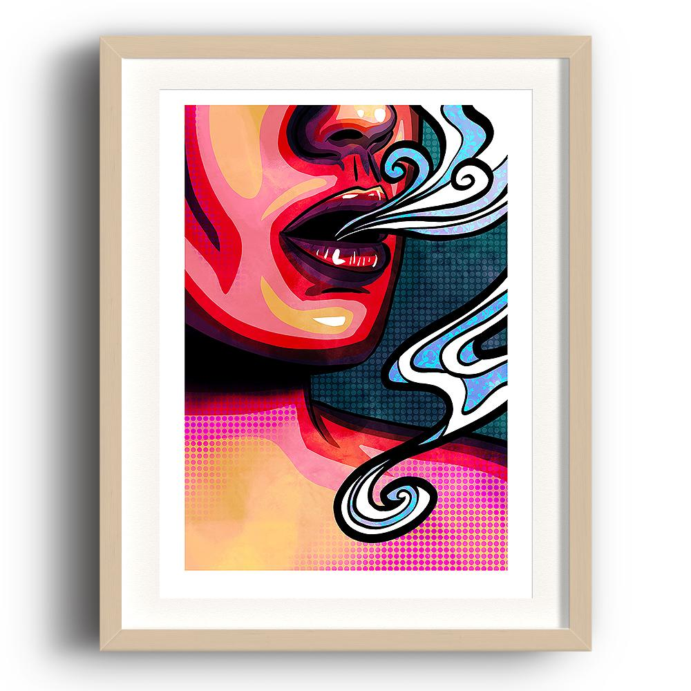 A pop art styled digital painting by Lily Bourne printed on eco fine art paper titled Emanate showing the mouth of a female exhaling breath. The image is set in a beech coloured picture frame.