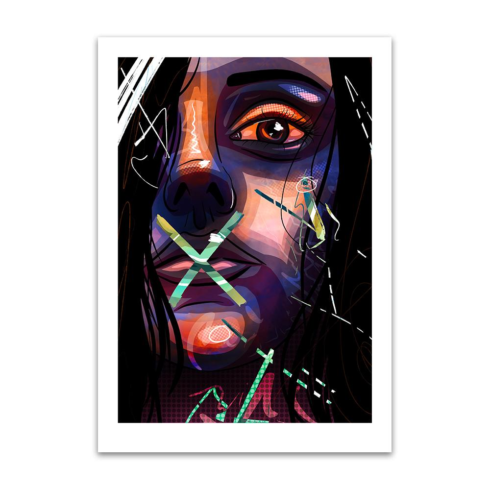 A digital pop art painting by Lily Bourne printed on eco fine art paper titled Hush Hushed showing a close up of a female face with abstract line and a green cross on here lips and mouth.