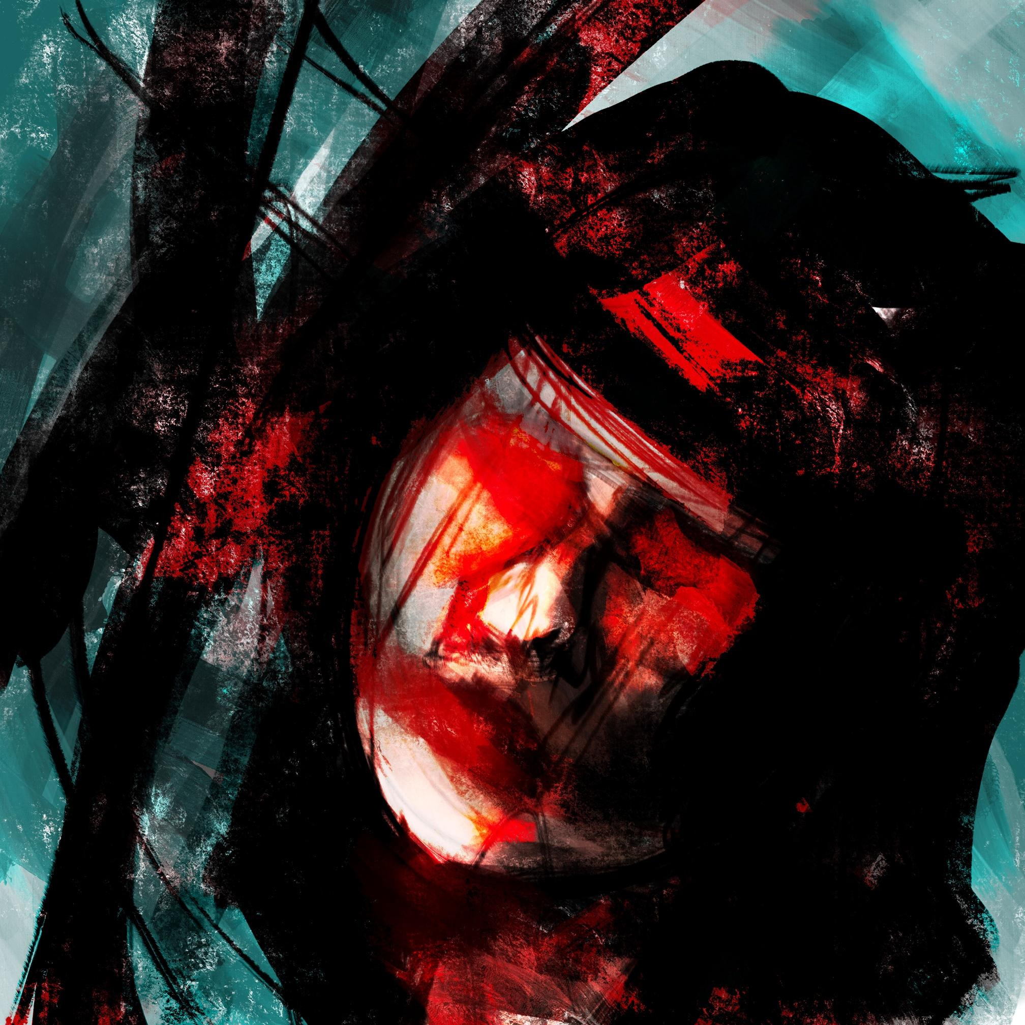 An abstract digital painting by Lily Bourne printed on eco fine art paper titled Tuned showing a female face amongst turquoise, black and red lines.