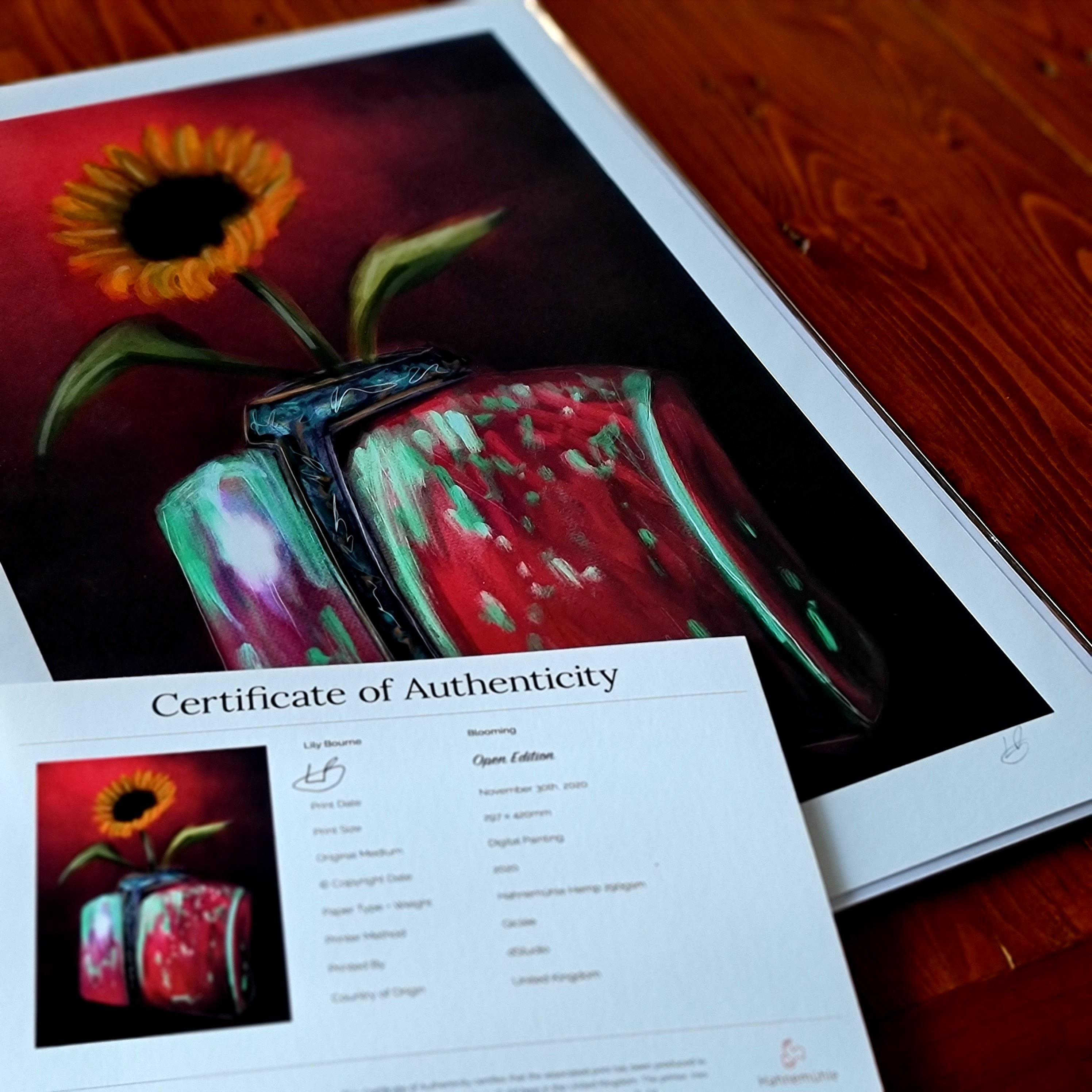 A digital painting by Lily Bourne printed on eco fine art paper titled Blooming showing a solitary sunflower in a torso shaped red and green coloured against a deep red wall. Print shown with certificate.