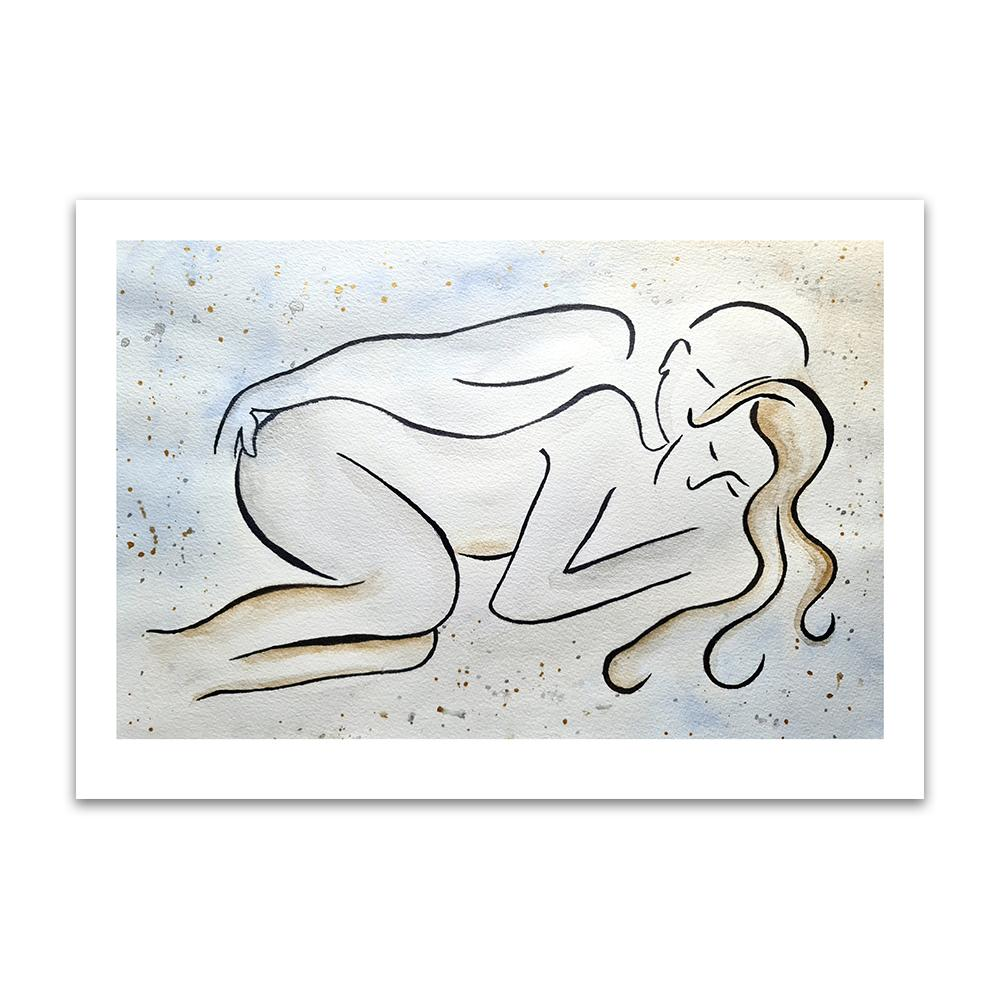 A watercolour and ink piece of art by Clarrie-Anne giclée printed on eco fine art paper titled Couple Love shown a line drawn couple lying next to each other with a watercolour wash and splash background.