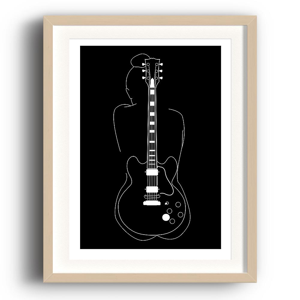 A digital illustration by Clarrie-Anne giclée printed on eco fine art paper titled Lucille. Featuring a white line outline of a female and the Gibson guitar of BB King with a black background. The image is set in a beech coloured picture frame.