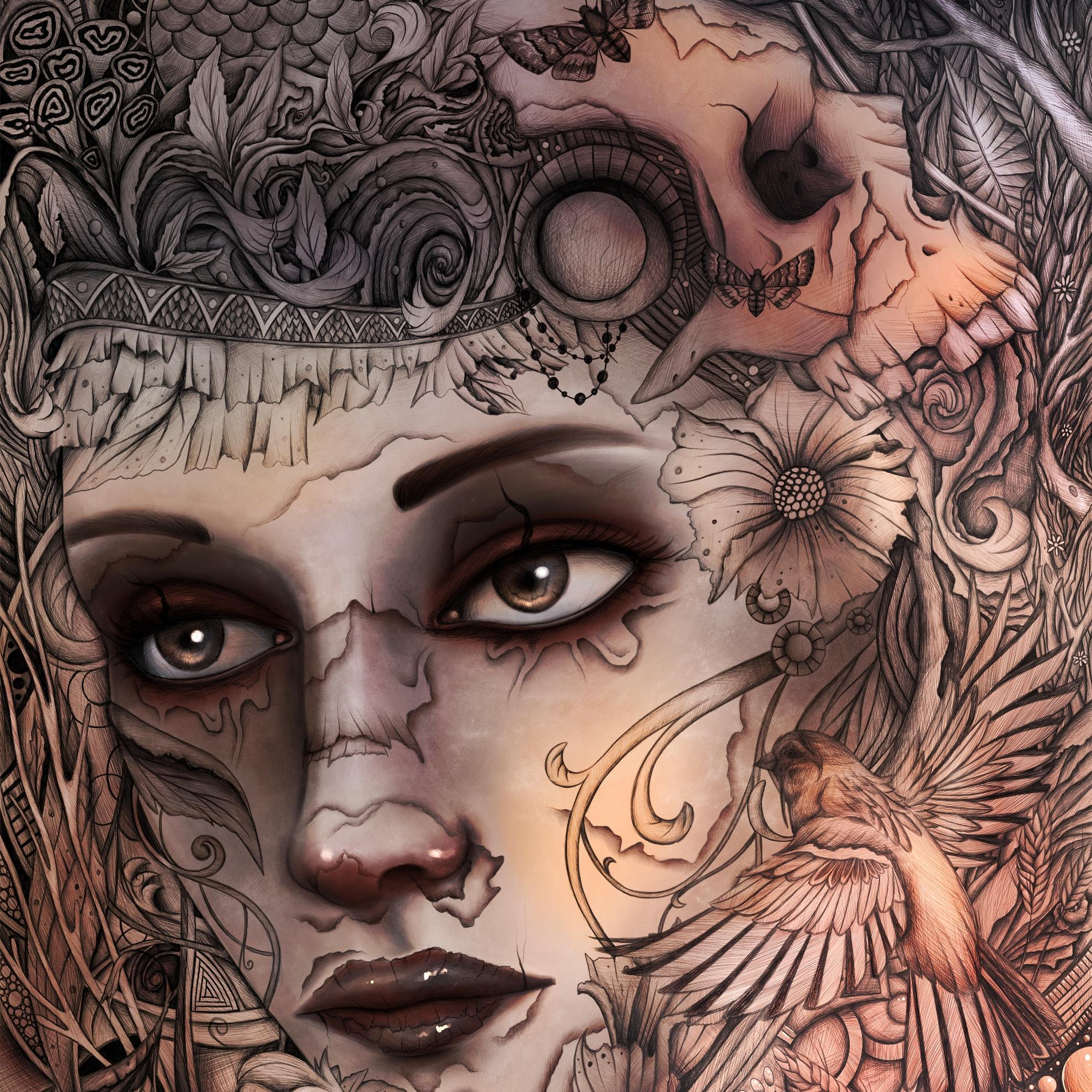 A digital painting by Lily Bourne printed on eco fine art paper titled Kalopsia showing an intricate line drawing of a female face with a bird and skull.
