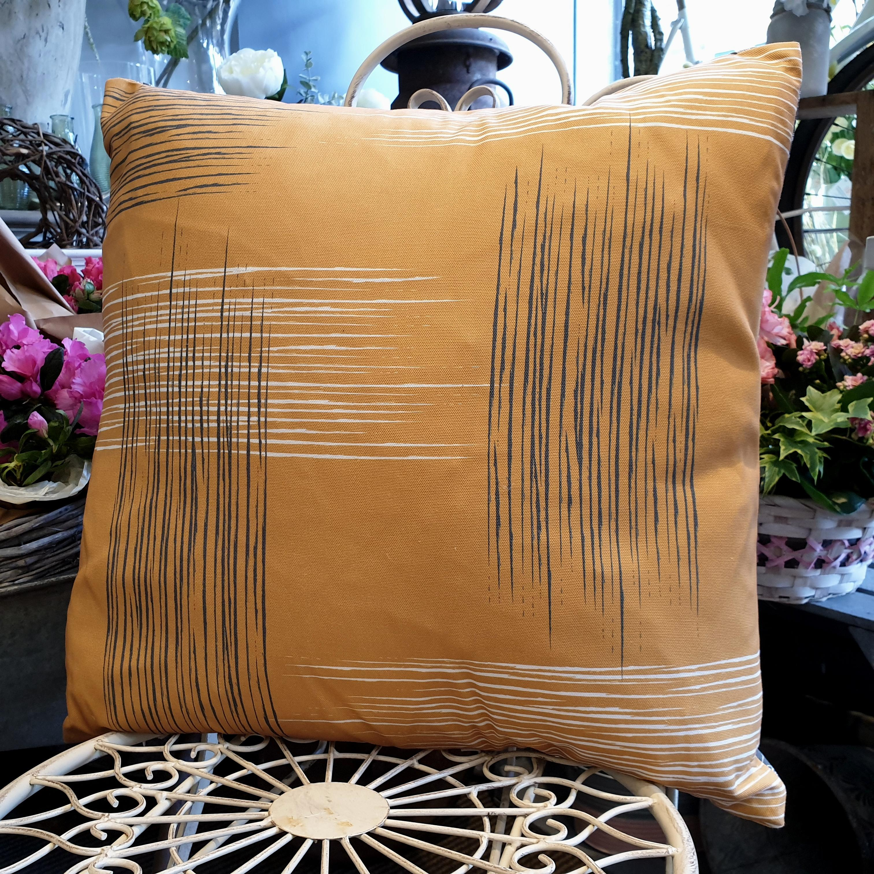 Double-sided mustard yellow 51cm square retro themed cushion with artistic grey and white shards designed by thetinkan. Available with an optional luxury cushion inner pad. VIEW PRODUCT >>