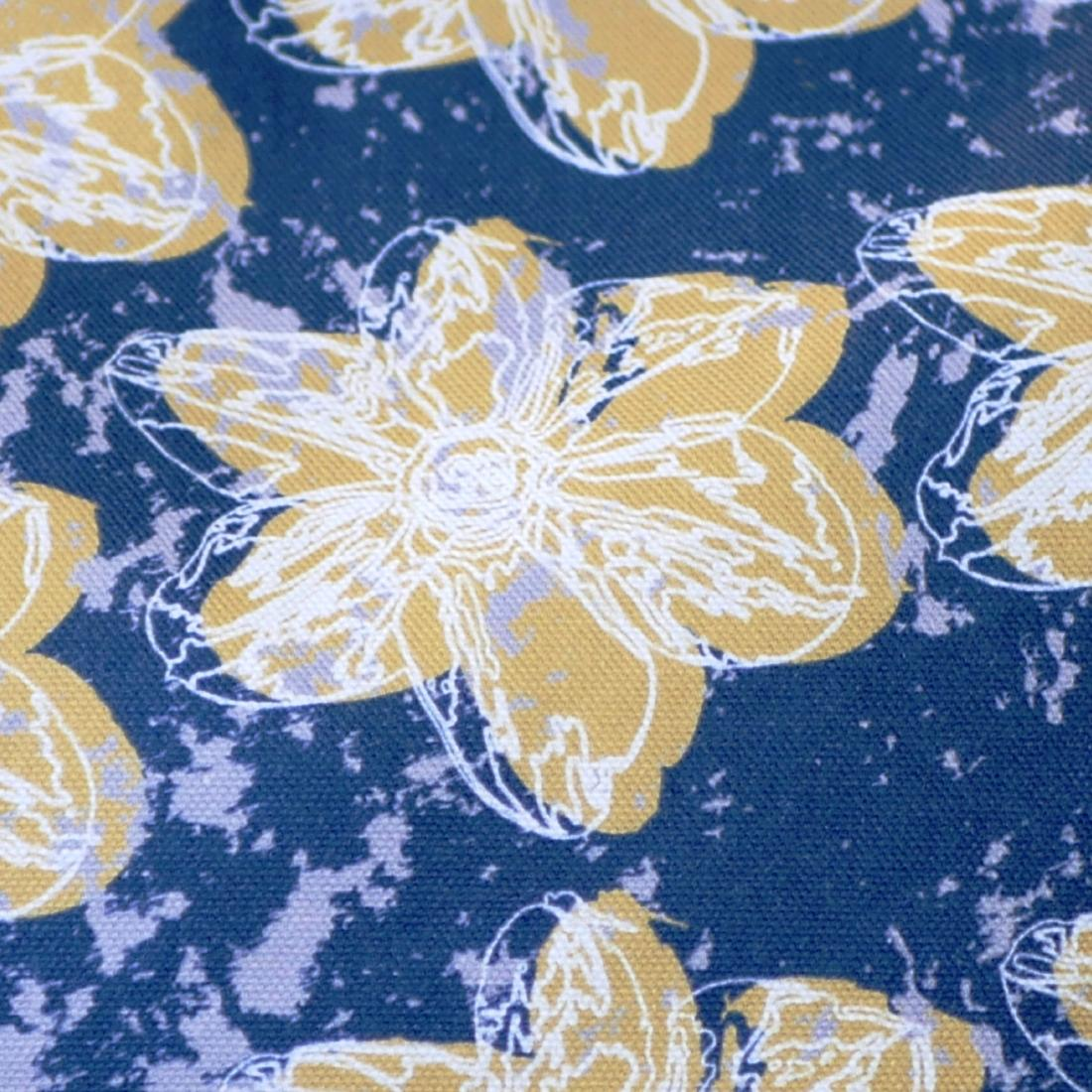 Mustard yellow flower with a matching coloured reverse, set on an oxford blue background with a light grey colour splash. Designed by thetinkan, the flower splash travel beauty washbag featuring the white traced outline of a?narcissus flower is made from panama cotton with black waterproof lining and matching black sturdy zip. Generously sized for all your travel or home needs.? VIEW PRODUCT >>