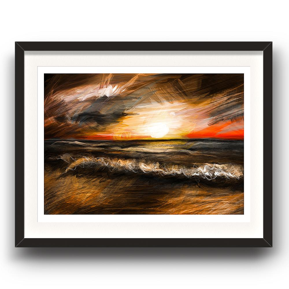 A digital painting by Lily Bourne called Sunset Waves showing a sunset with a warm orange glow as waves break on a sandy beach. Image in a black picture frame.