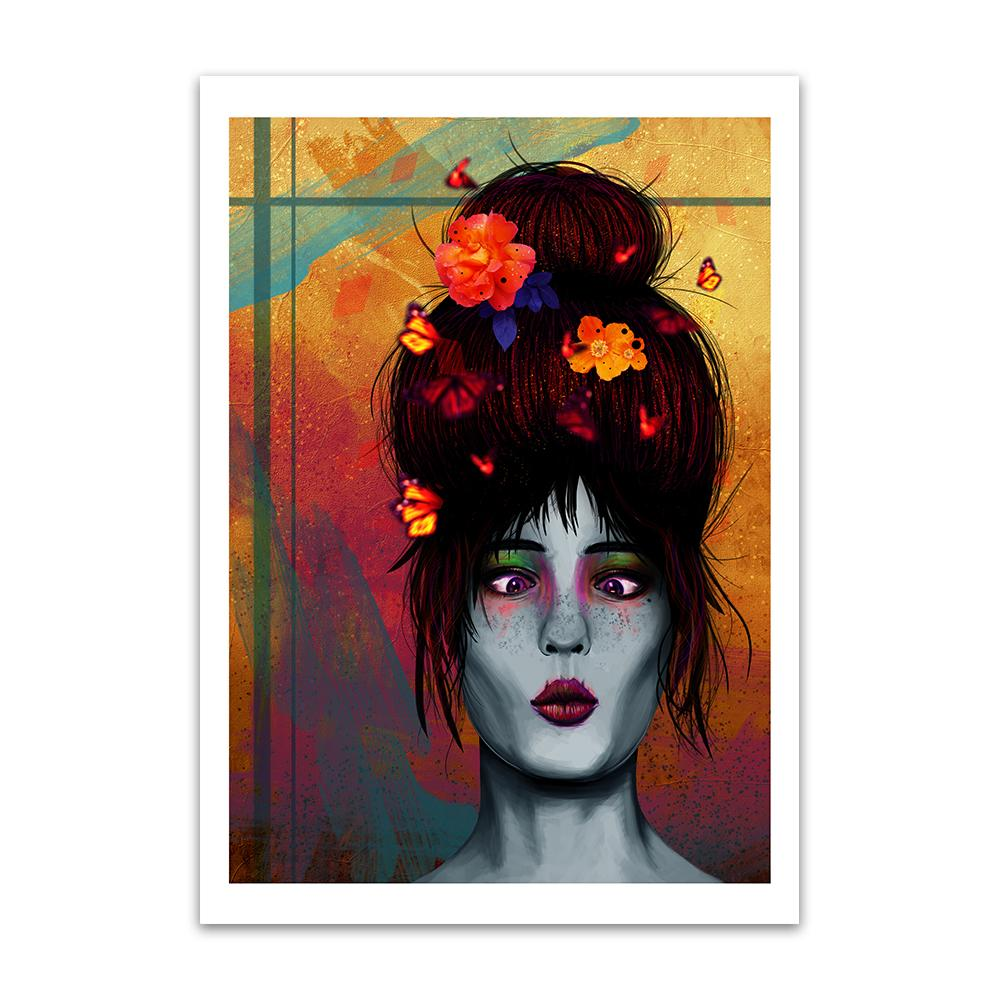 A digital painting called Butterfly Bonce by Lily Bourne showing a young lady with her hair and butterflies around her head. Her eyes are crossed as she looks at the butterflies around her.