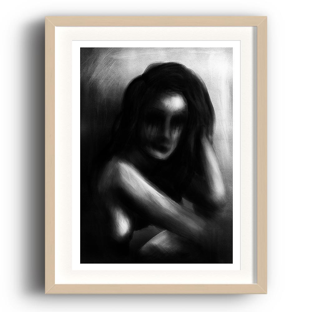 A digital painting called Raw Tears by Lily Bourne showing a greyscale out of focus woman who has been crying through frustration. The image is set in a beech coloured picture frame.