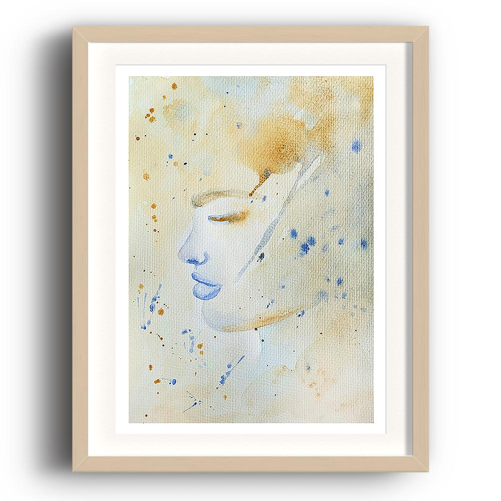 A watercolour print by Clarrie-Anne on eco fine art paper titled Tea Storm showing a washed and spotted watercolour colour background of the side profile of a female face with blue lips. The image is set in a beech coloured picture frame.