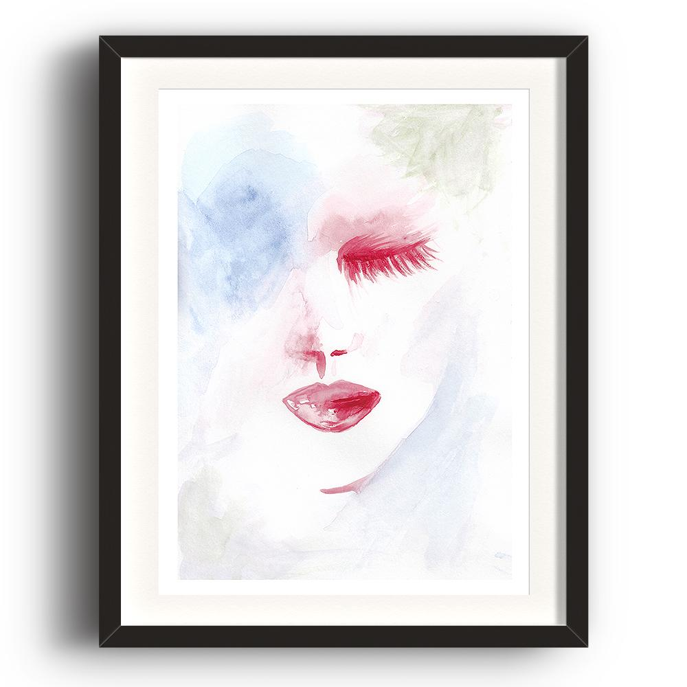 A watercolour print by Clarrie-Anne on eco fine art paper titled Dreaming showing a pale blue washed background with a red shut eyes and lips. IThe image is set in a black coloured picture frame.