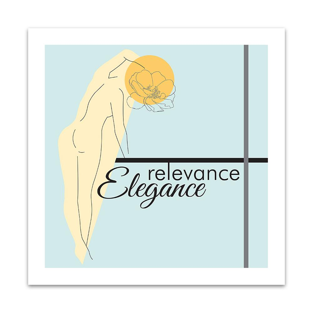 A watercolour print by Clarrie-Anne on eco fine art paper titled Relevance Elegance showing outline of a female with a line drawn flow head and typography with coloured shapes.