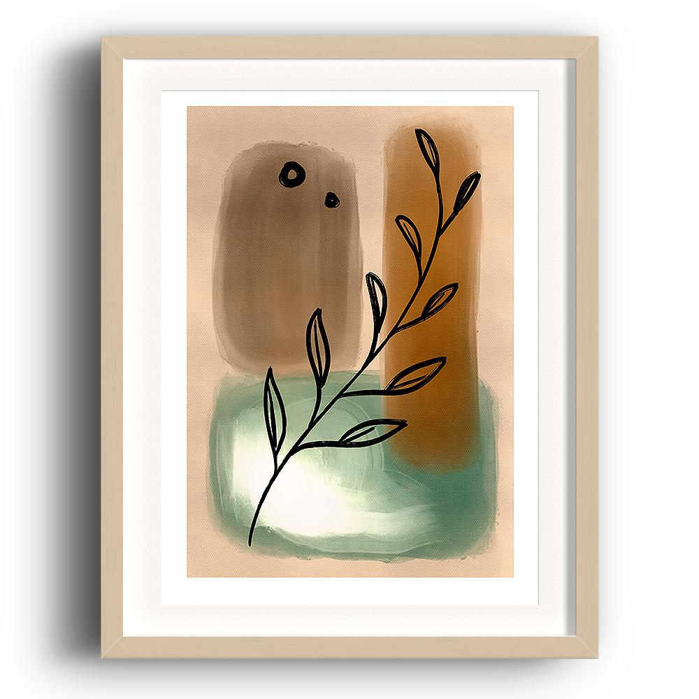 An abstract digital painting by Lily Bourne printed on eco fine art paper titled Tranquil Moment showing a line drawn olive branch over neutral green and brown painted hues. The image is set in a beech coloured picture frame.