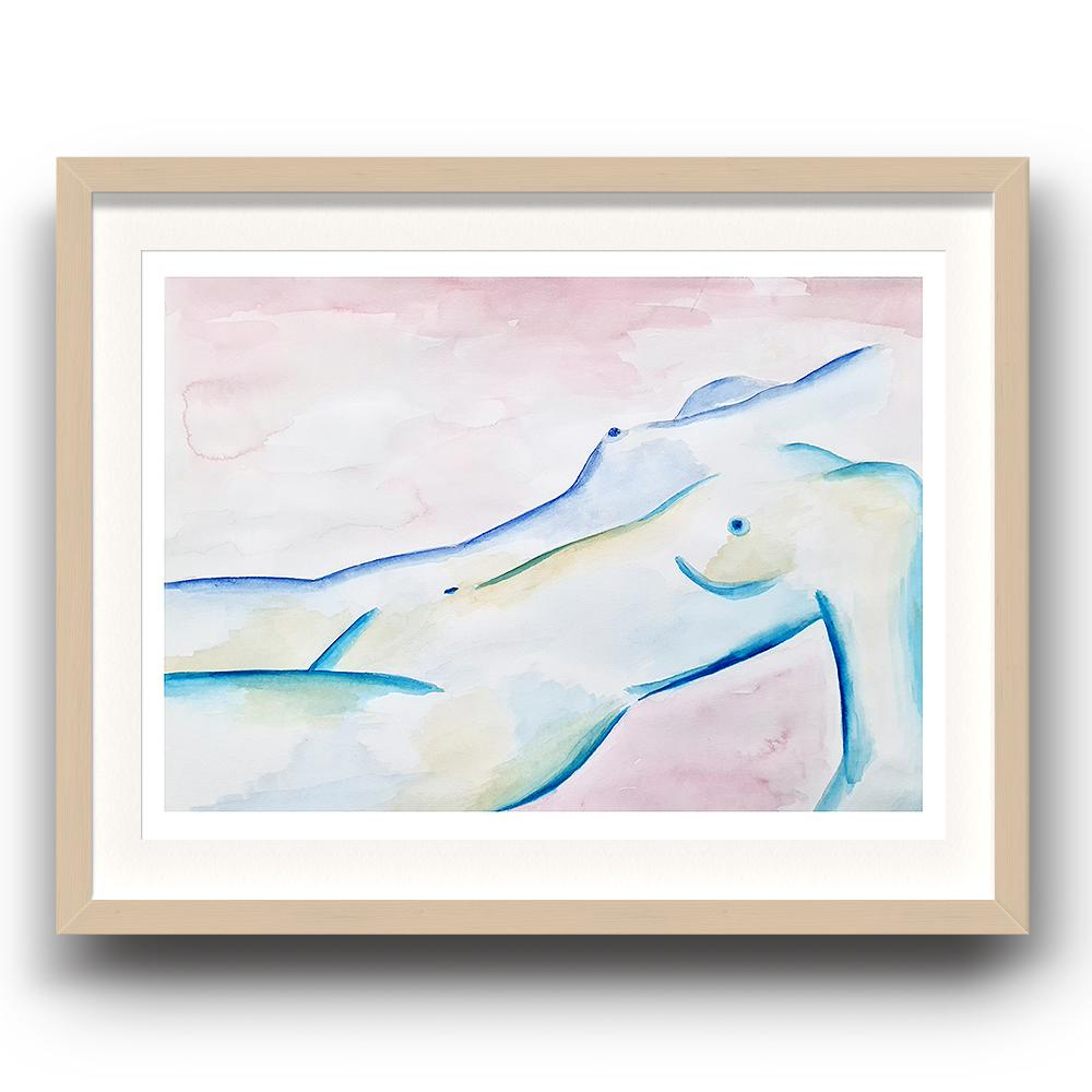 A watercolour print by Clarrie-Anne on eco fine art paper titled Subdued showing a pink wash background with a blue line naked female lying down. The image is set in a beech coloured picture frame.