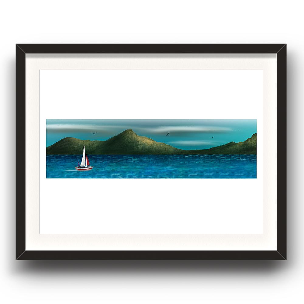 A digital painting by Lily Bourne printed on eco fine art paper titled Just Breath 1.1 showing a landshape view of a sail boat with one person sailing on open water with mountains behinds and birds flying above. The image is set in a black coloured picture frame.