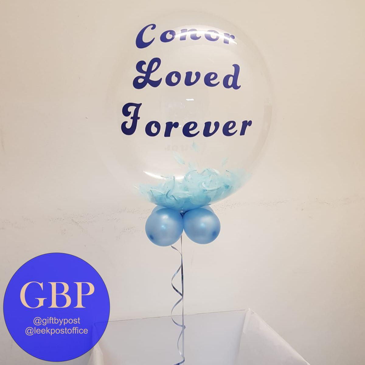 Bubble Balloon, Contains Feathers, Blue, Lost loved one, Personalised