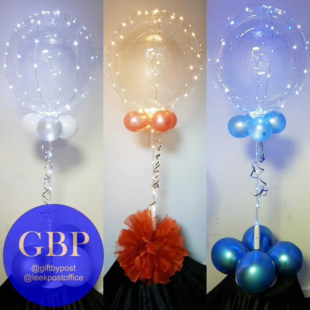 3 Clear LED balloons