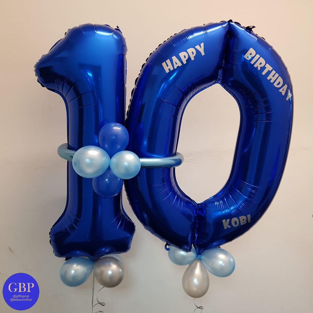 Large Number Balloon Inflated Age 10 Blue
