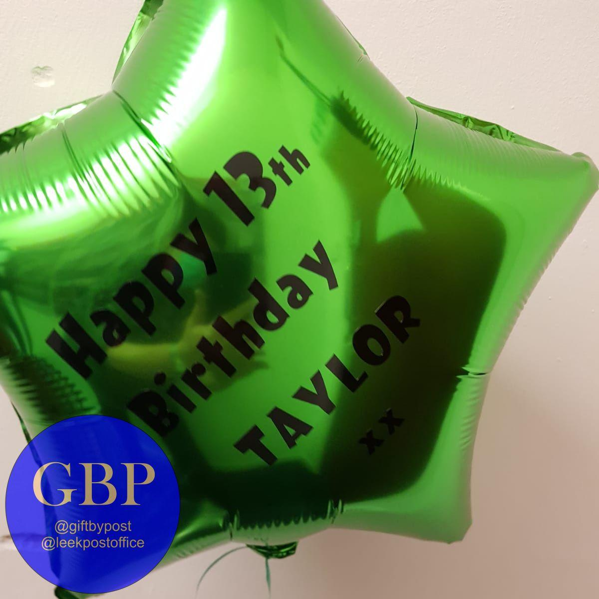 Green Star Foil Helium Balloon Inflated
