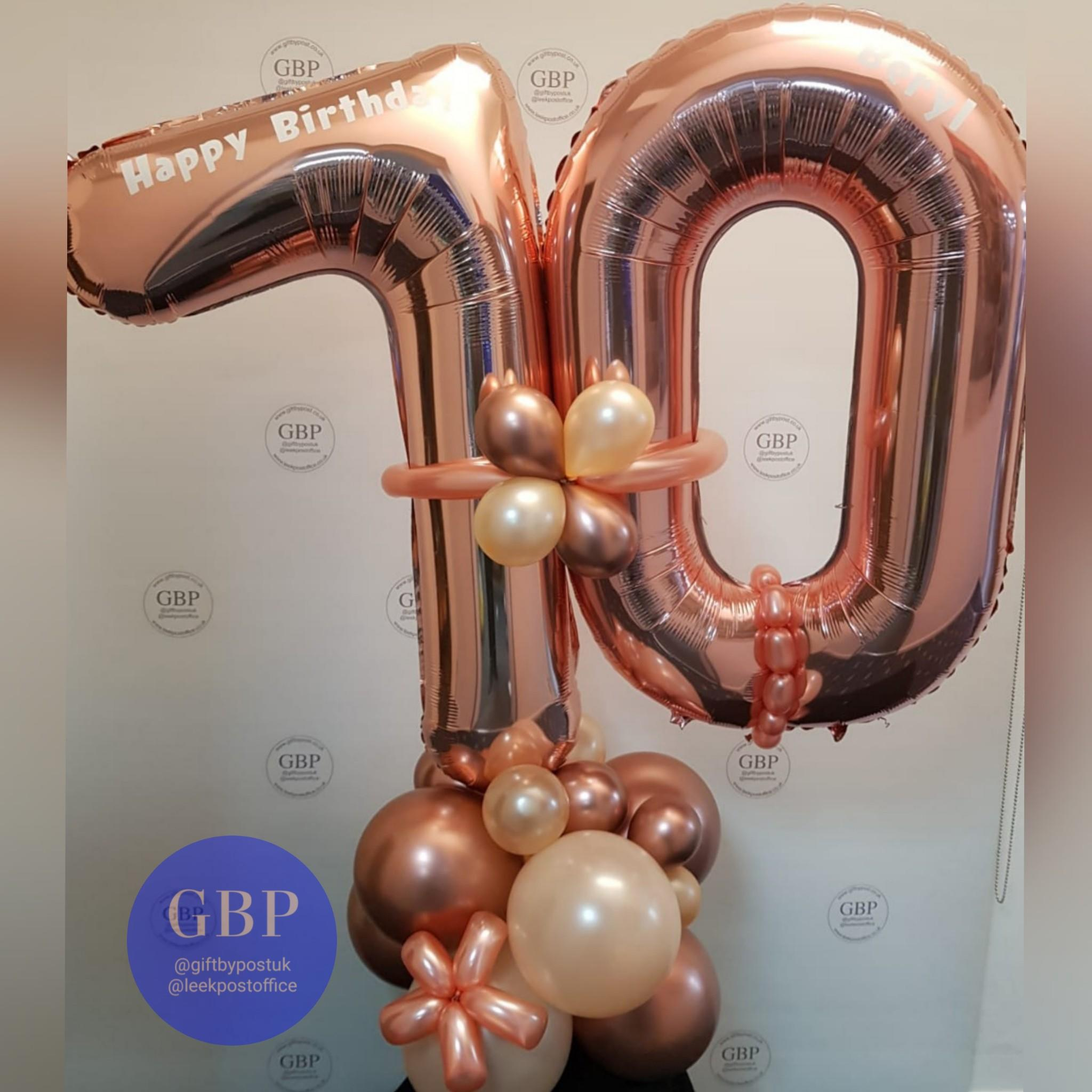 Large Numbers Balloon on a base, Age 70 Rose Gold