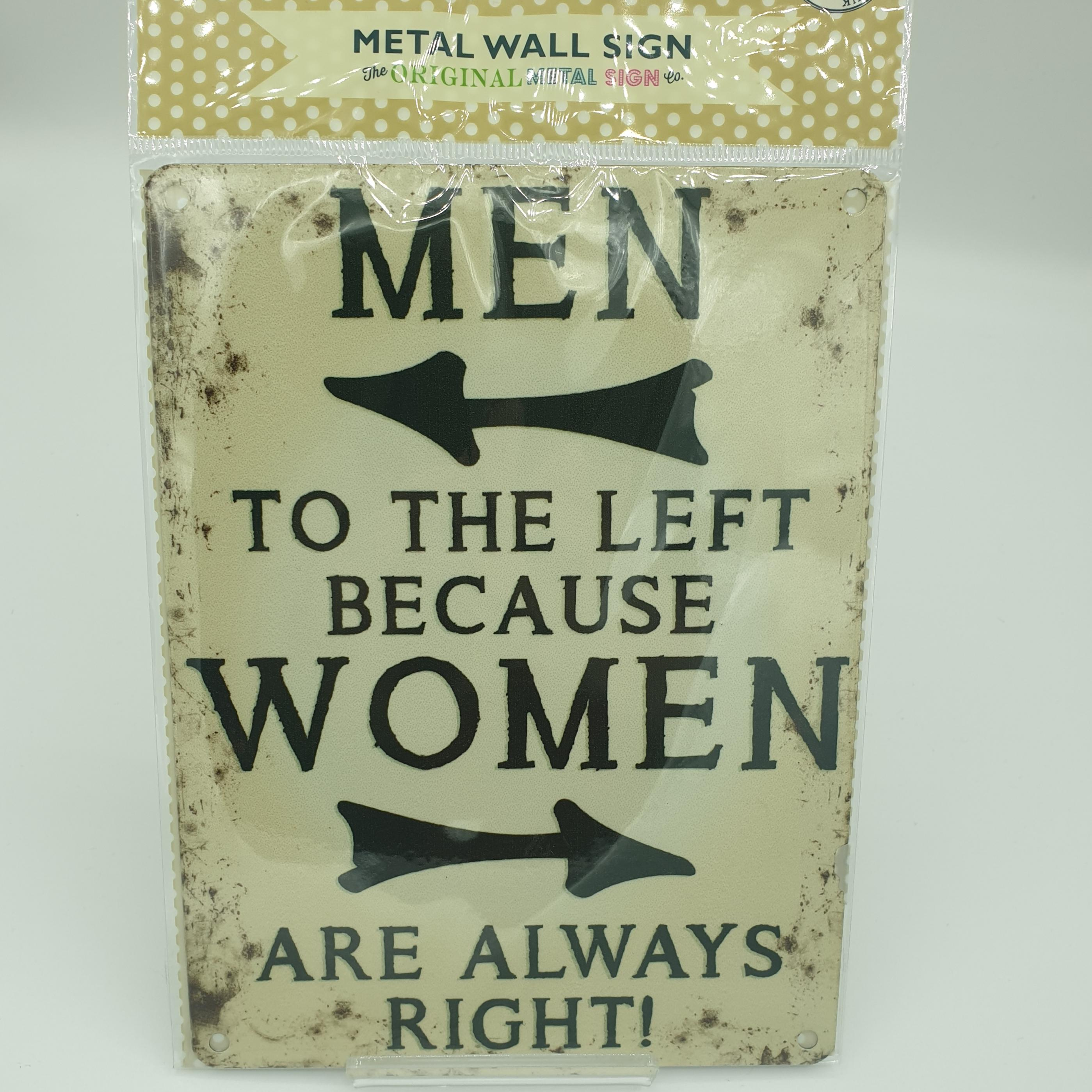 Metal Sign Men Left Women Right