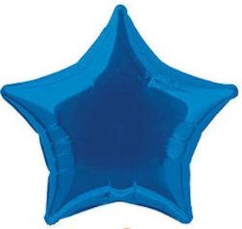 Dark Blue Star Foil Helium Balloon Inflated