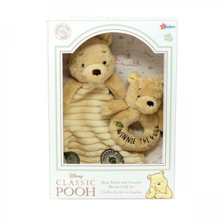 Classic Winnie The Pooh Baby Gift Set Rattle and Comforter Box