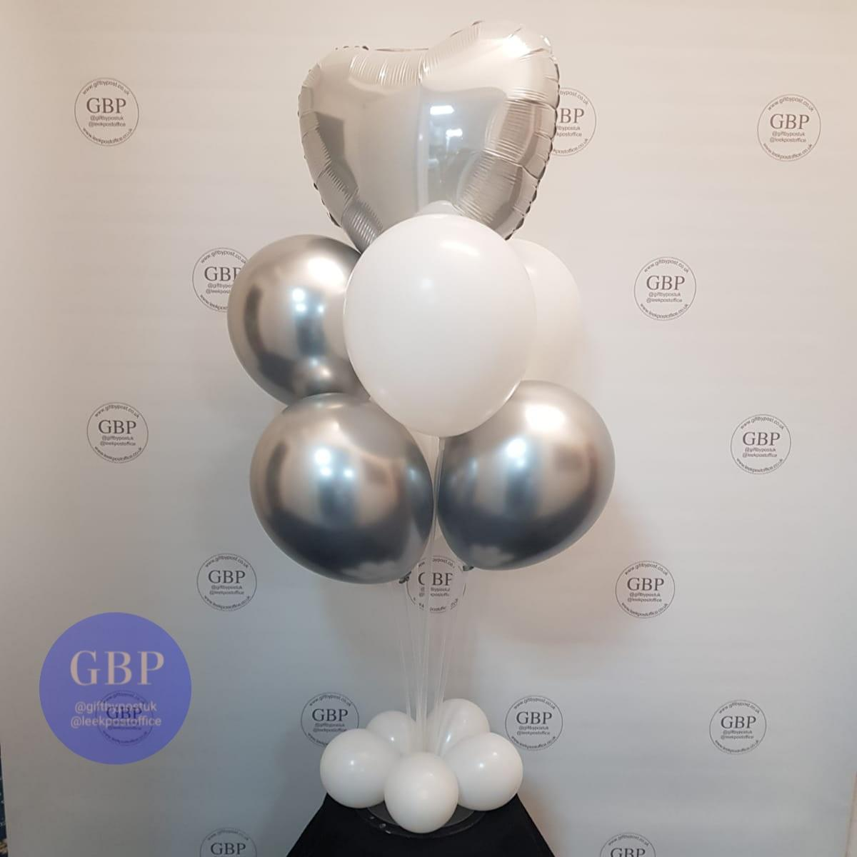 Balloon on a stand, silver and white