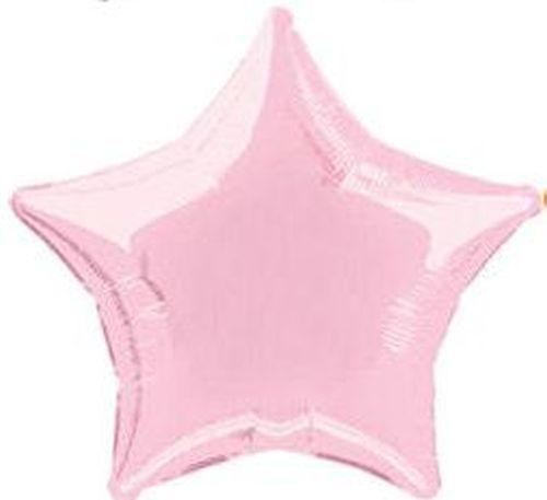 Light Pink Star Foil Helium Balloon Inflated