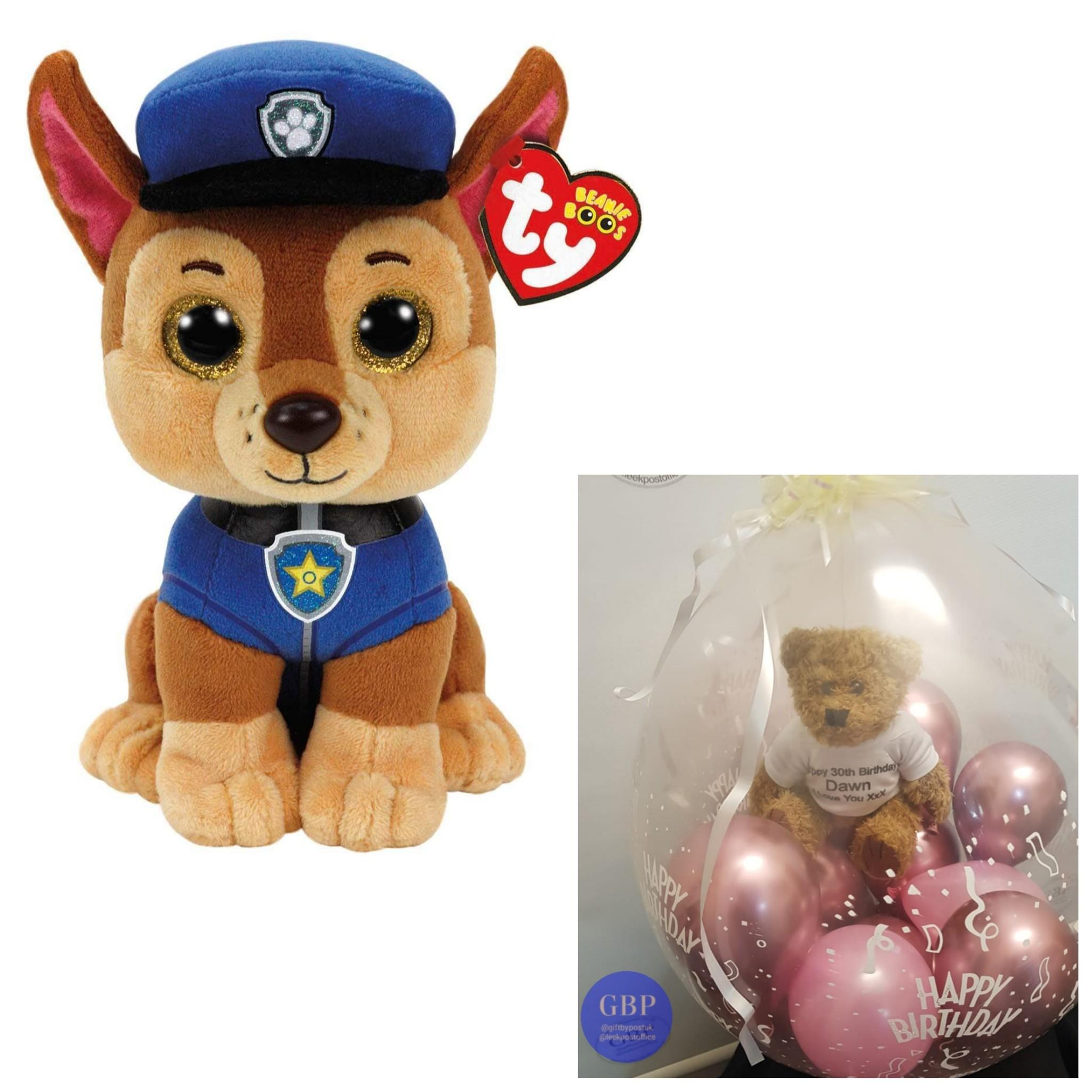 Paw Patrol TY Soft Toy - Chase in a pop me stuffed balloon