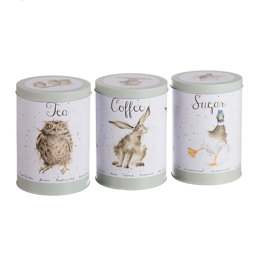 WRENDALE TEA COFFEE SUGAR CANISTER - WILDLIFE FRONT