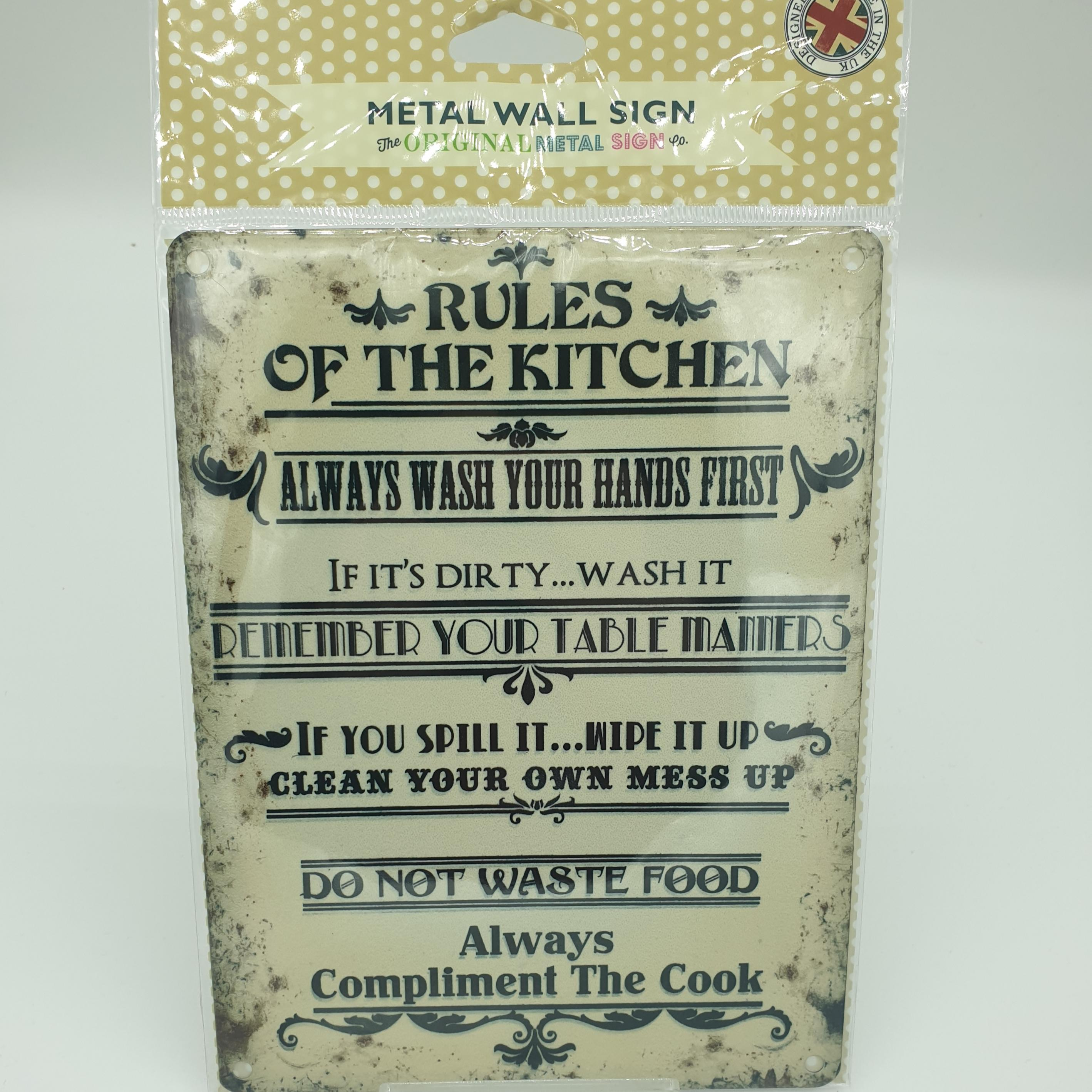 Metal Sign Rules of the Kitchen