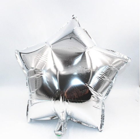 Silver Star Foil Helium Balloon Inflated
