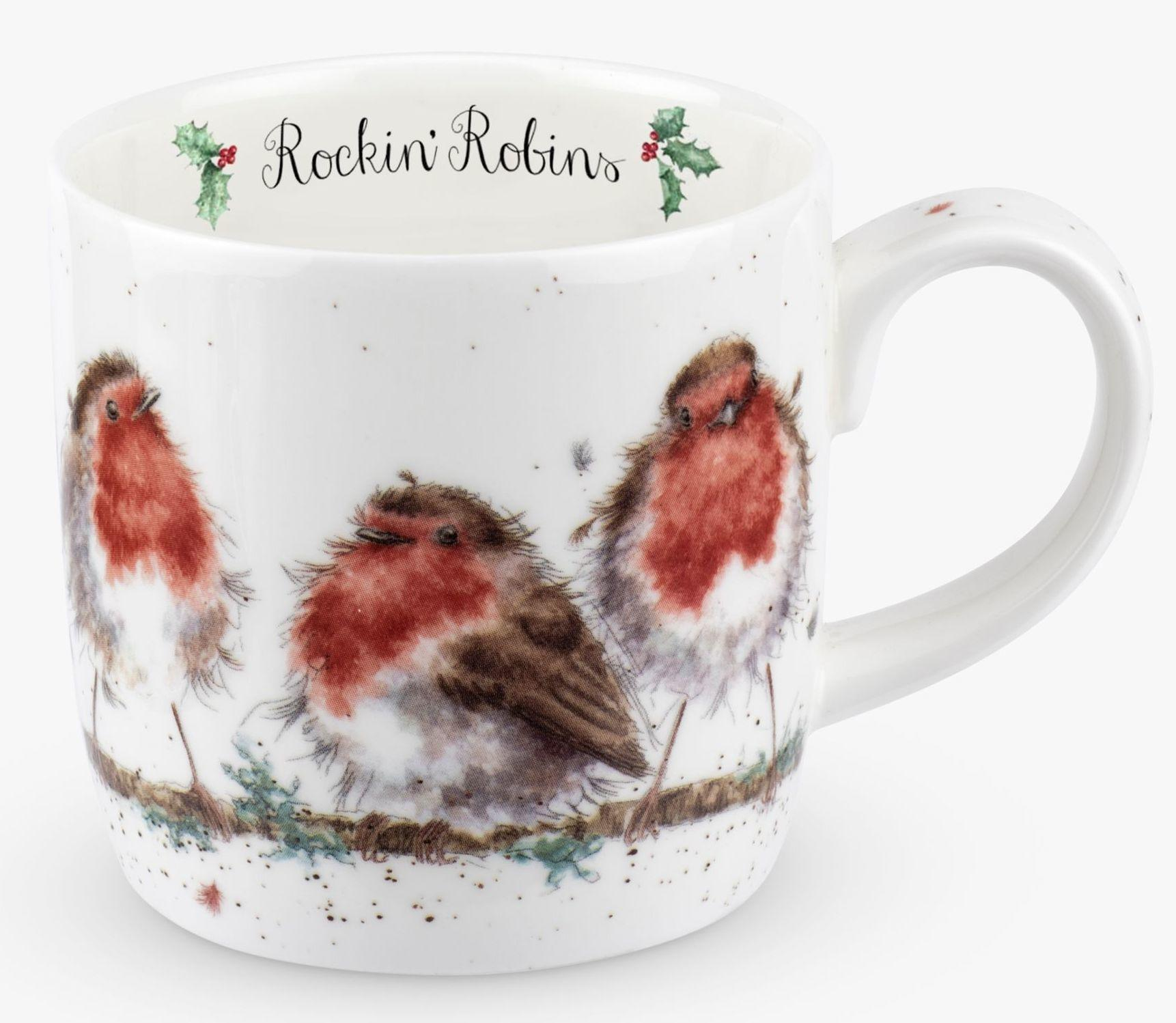 Wrendale Portmeirion Royal Worcester Christmas Mug Rockin Robins Left