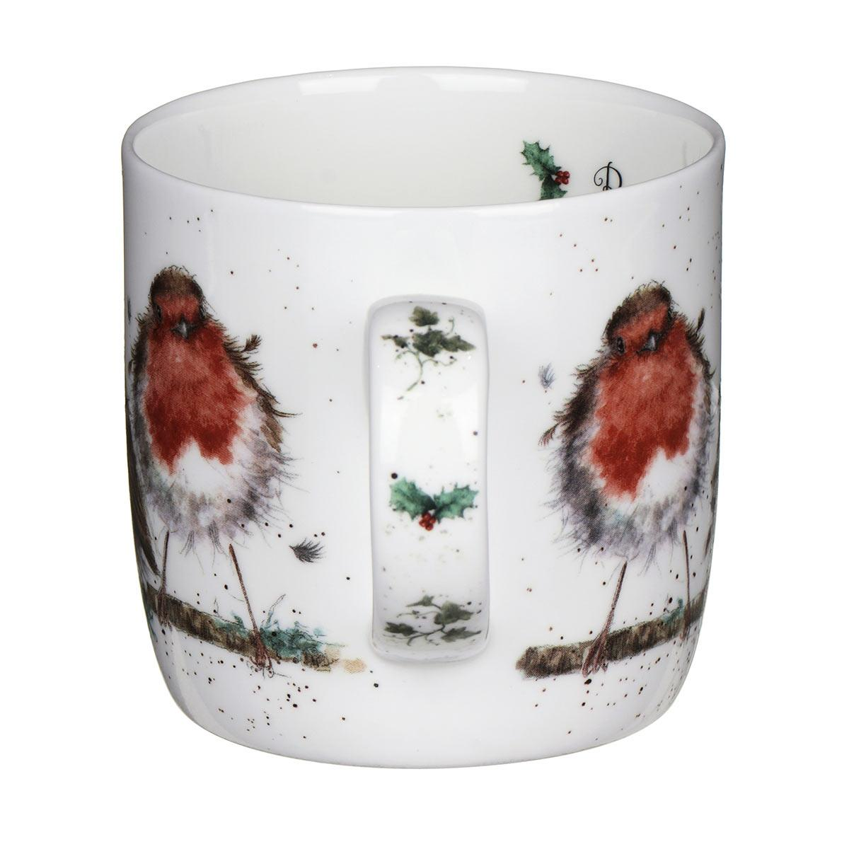 Wrendale Portmeirion Royal Worcester Christmas Mug Rockin Robins Handle