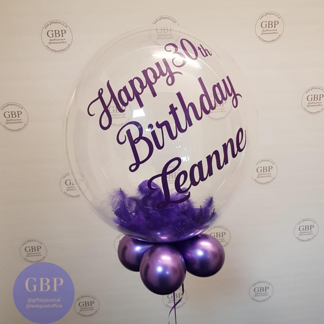 Bubble balloon, contains feathers, purple theme