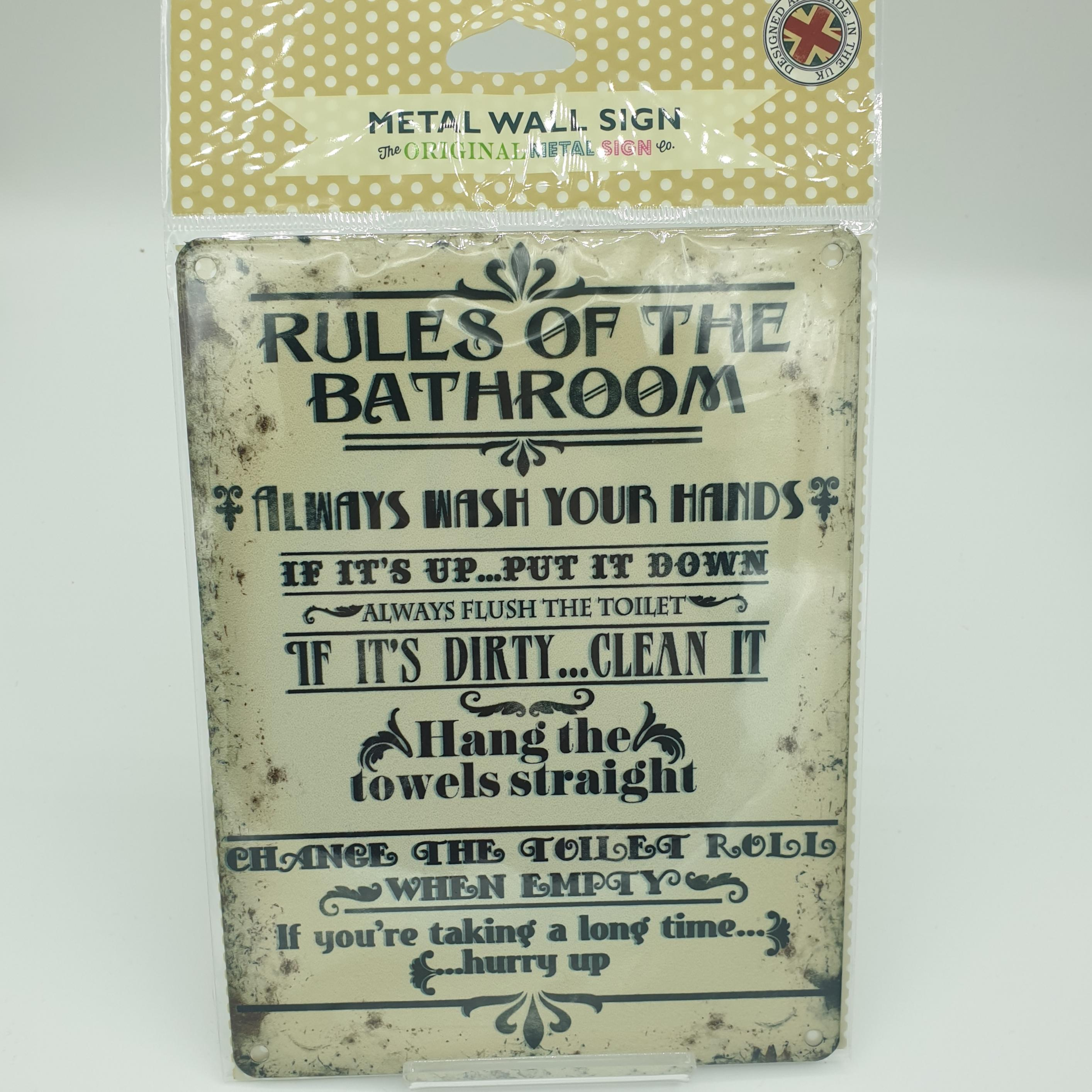 Metal Sign Rules Of The Bathroom