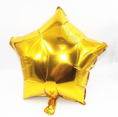 Gold Star Foil Helium Balloon Inflated