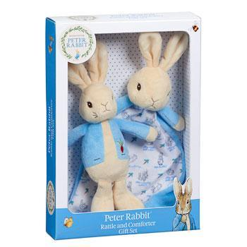 Beatrix Potter Peter Rabbit Comforter and Rattle Baby Gift Set