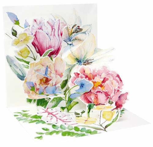 Noel Tatt Po Up Greetings Card Blank Flowers