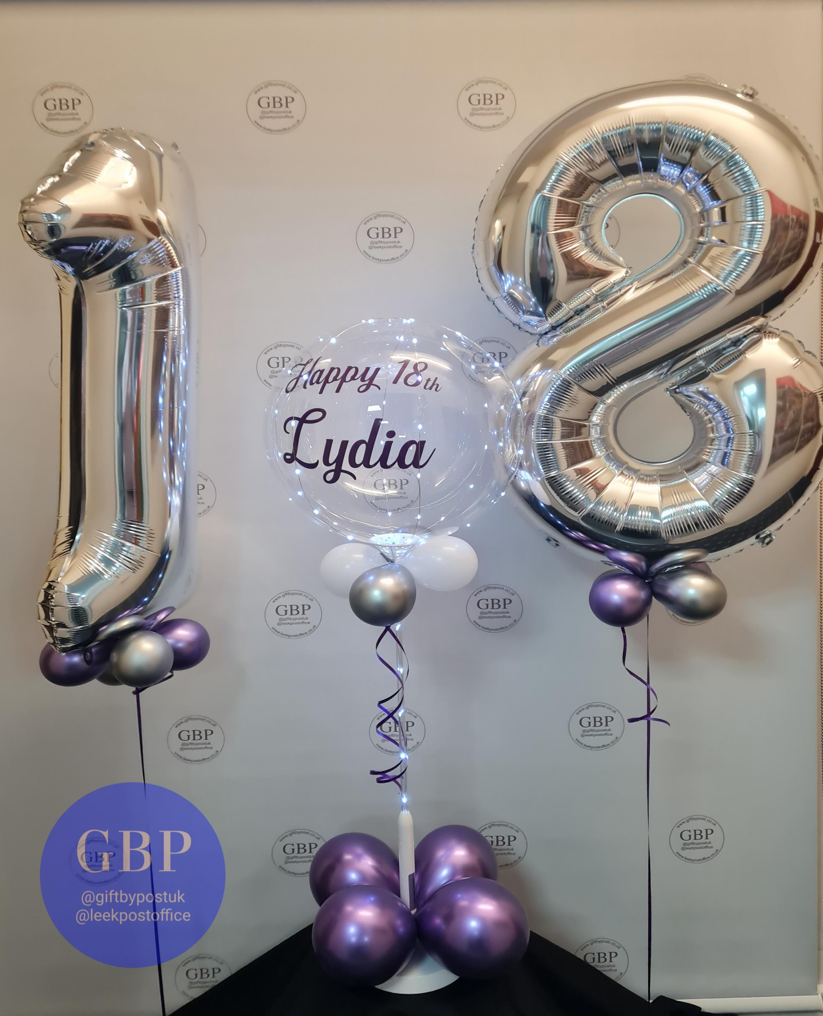 Large 18 balloons in silver, LED balloon personalised purple