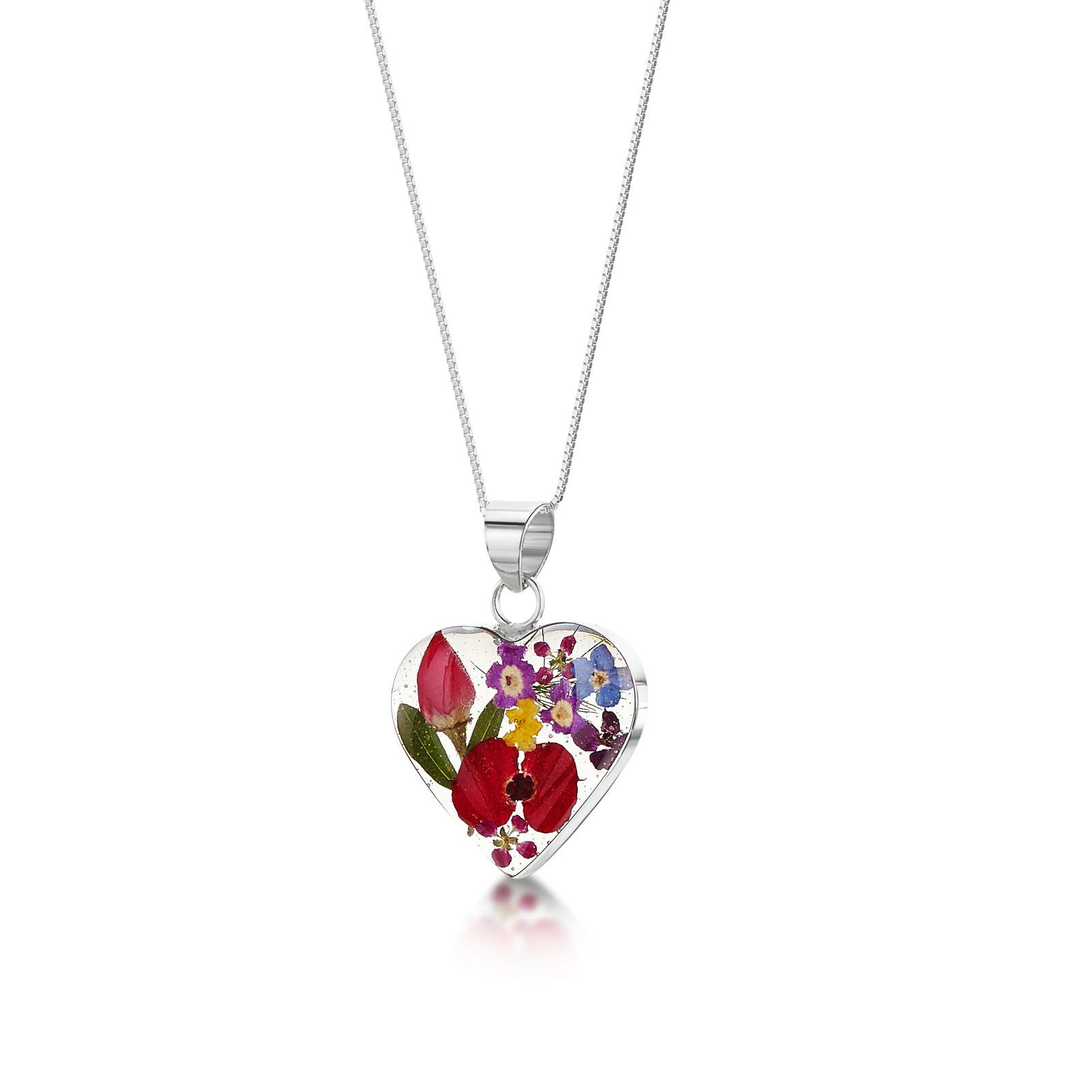 MIXED FLOWER HEART NECKLACE