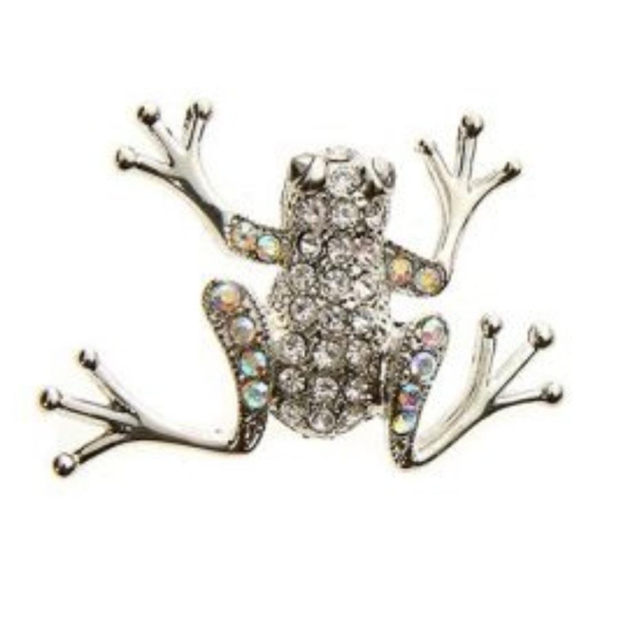 Silver Jewelled Frog Brooch