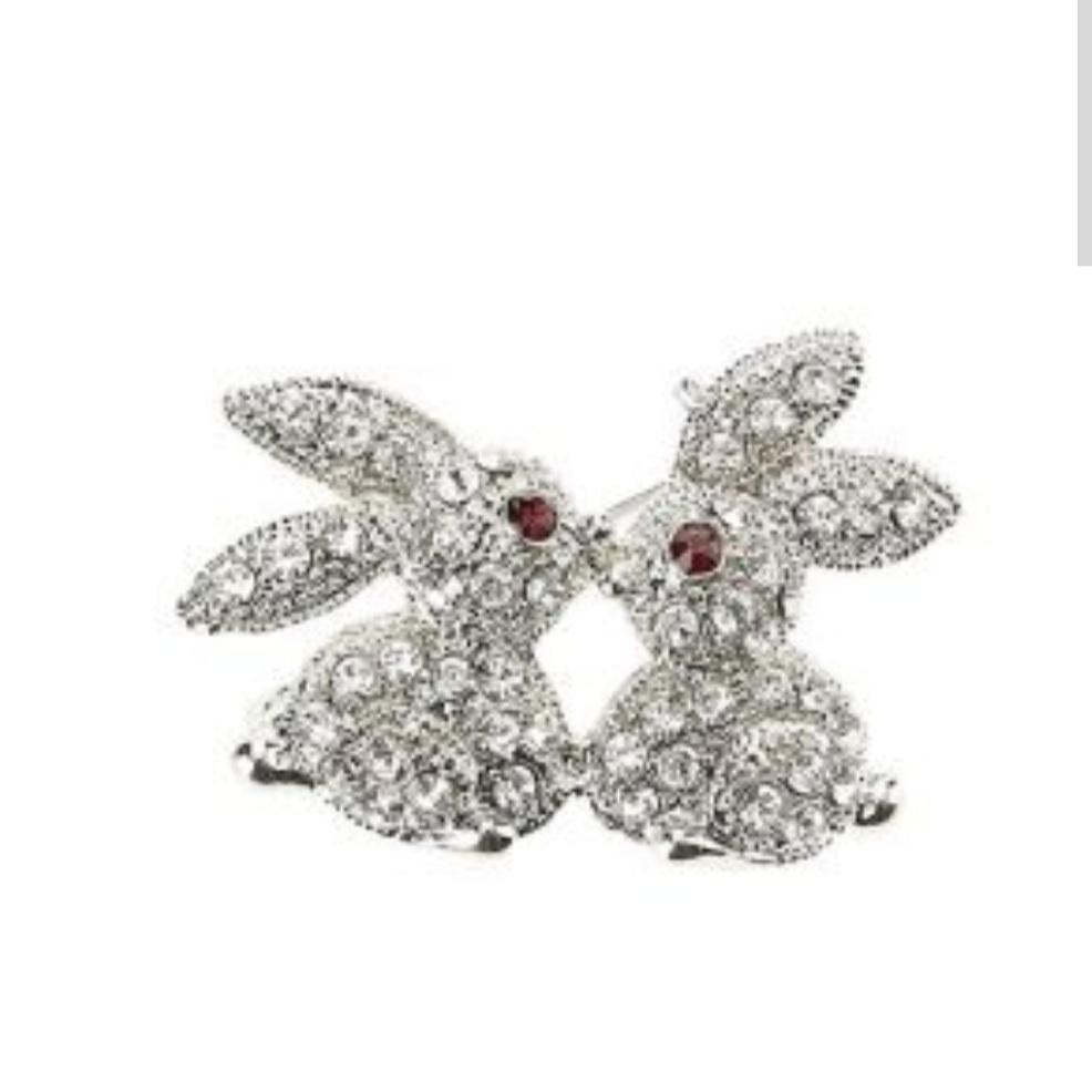 Two Rabbits Bunny Kissing Brooch