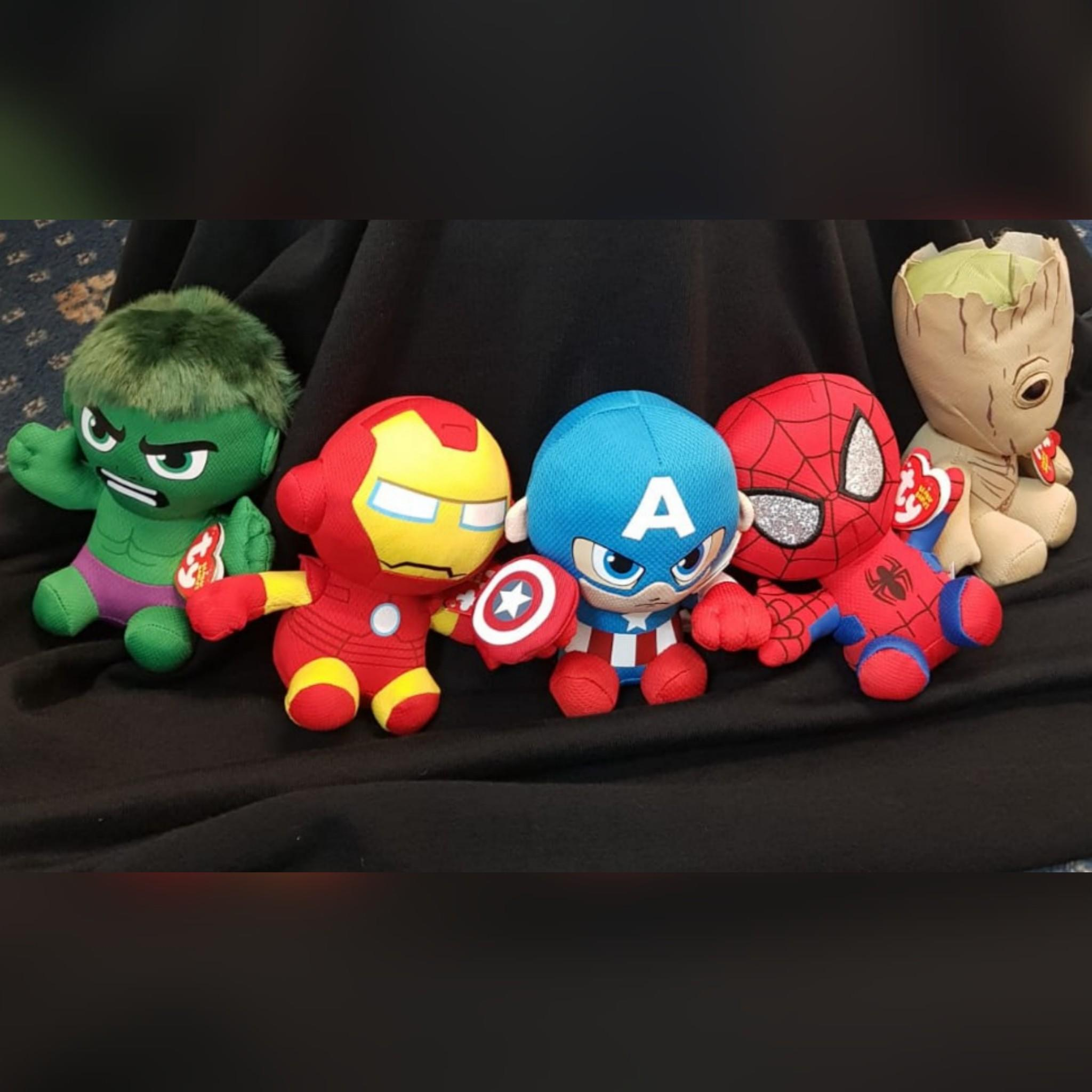 TY Hulk, Captain America, Spiderman, Groot and Iron Man