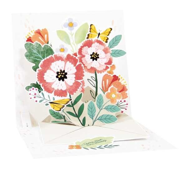 Noel Tatt Po Up Greetings Card Blank flowers envelope