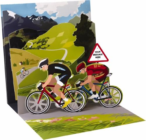 Noel Tatt Po Up Greetings Card Blank cycle bicycle