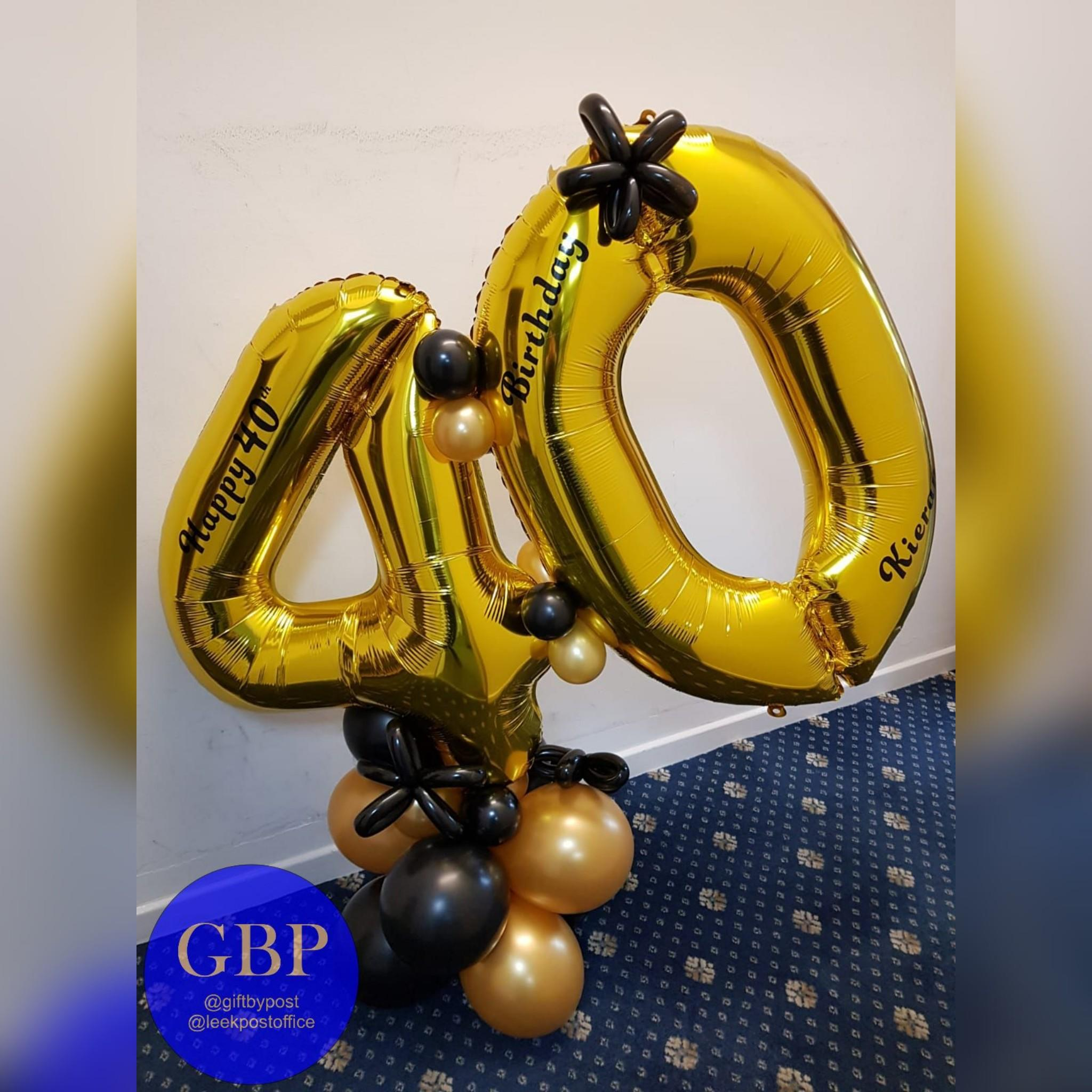 Large Numbers Balloon on a base, Age 40 Gold